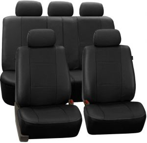 Fabulous Fh Group Pu007Black115 Universal Fit Full Set Deluxe Seat Cover Leatherette Airbag Compatible And Rear Split Fit Most Car Truck Suv Or Van Inzonedesignstudio Interior Chair Design Inzonedesignstudiocom