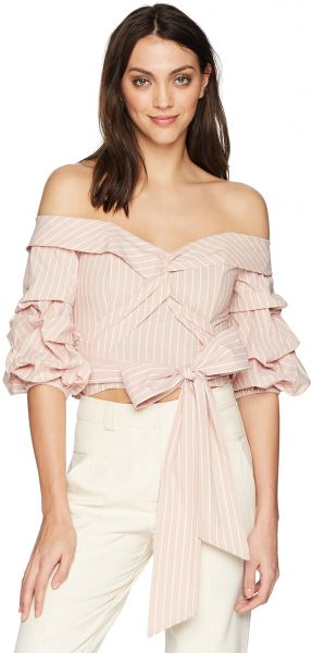 1bb3b40708bd4 ASTR the label Women s Carrie Off The Shoulder Puff Sleeve Crop Top ...