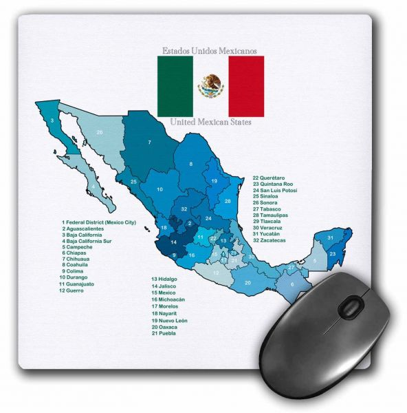 Flag And Map Of Mexico With All The Mexican States Identified By