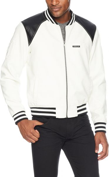 Members Only Men S Vegan Leather Bomber White Xxl Souq Egypt