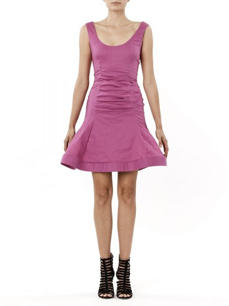 Nicole Miller Women S Solid Cotton Metal Fit And Flare Dress Shock Rosa 10 Souq Uae