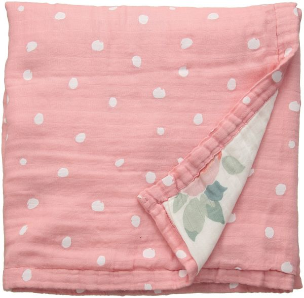Bebe Au Lait Oh So Soft Muslin Snuggle Blanket Rosy And Dewdrops
