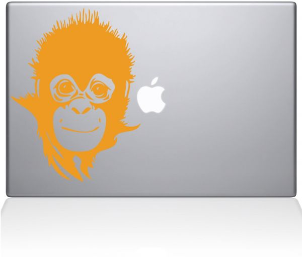 "The Decal Guru Save the Baby Monkey MacBook Decal Vinyl Sticker  - 15"" Macbook Pro ‫(2015 & older) - Yellow ‫(1164-MAC-15P-SY)"