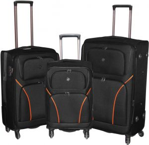 9d4312e199a2 HighFlyer 1628 Series 3Pc 20-24 -28 Inch Trolley Hard Luggage Bag Set -  Black