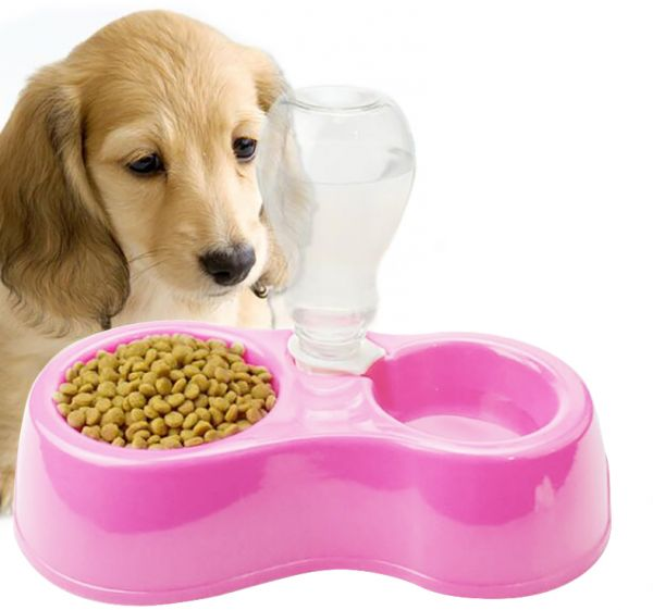 Dual Port Pet Dog Cat Bowl ,Automatic Plastic Water Dispenser Feeder For Pet Feeding And Drinking-Pink