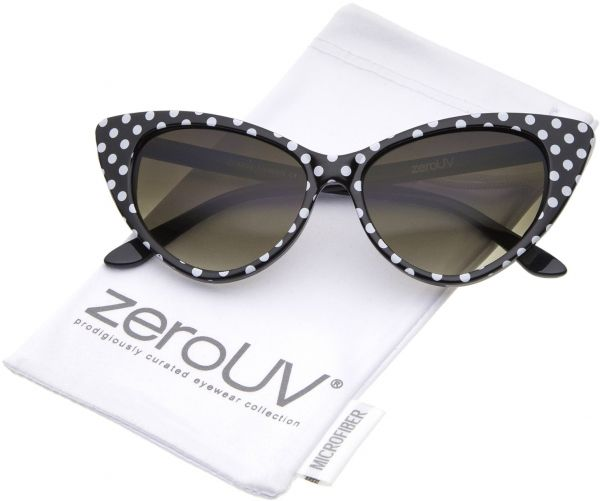b11ed2e2da3 zeroUV - Polka Dot Cat Eye Womens Mod Fashion Super Cat Sunglasses (Black  White-Dots)