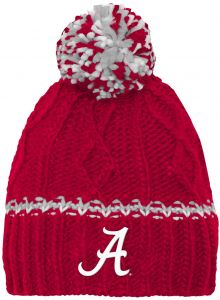 NCAA Alabama Crimson Tide Youth Girls Cable Knit Cuffless Hat w Pom 18668b33276