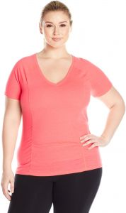 72e44f2343450e Fruit of the Loom Fit for Me by Women's Plus Size Breathable Shirred  T-Shirt, Neon Coral Heather, 1X