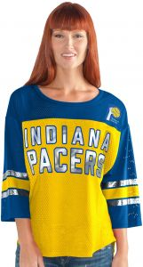 c14f4c98844 GIII For Her NBA Indiana Pacers Adult Women First Team Mesh Top, Medium,  Gold/Blue