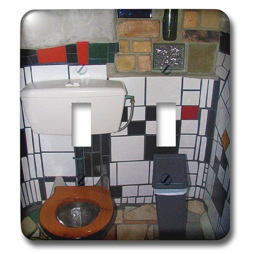 3dRose lsp_49588_2 Inside World Famous Hundertwasser Toilets in Kerikeri,  New Zealand with Stained Glass and Cool Tiles Double Toggle Switch