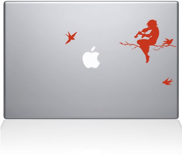 "The Decal Guru 0065-MAC-15P-P Moonlight Melodies Vinyl Sticker, 15"" MacBook Pro ‫(2015 & Older), Orange"