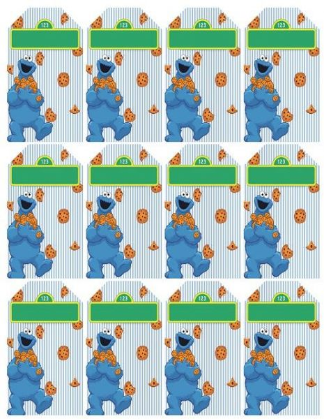 Sesame street Cookie Monster Birthday party Thank You Tags - 12 pcs
