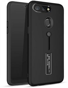 Personality TPU Pc Dual Layer With Stand and Finger Holder Back Cover For Oppo F9 - Black