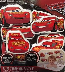 Cars 3 Disney Pixar Tub Time Activity Bath Set 8 Foam Lightning McQueen Toys