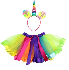 03d297f9b Fashion Toddler Kids Baby Girls Clothes Tutu Skirt Outfits Unicorn Cute  Children Tulle Skirt headband Rainbow Skirt -x