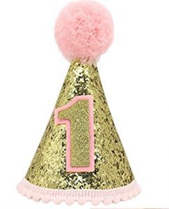 Gold Glitter Sparkle Princess 1st Birthday Cone Hat With Adjustable Headband For Baby Girl Party SuppliesPink