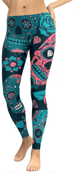 b26235bbf5d217 Leggings Floral Skull Head Diamond Print High Waist Workout Running Skinny  Slim Fitness Pants. by Other, Sportswear - Be the first to rate this product