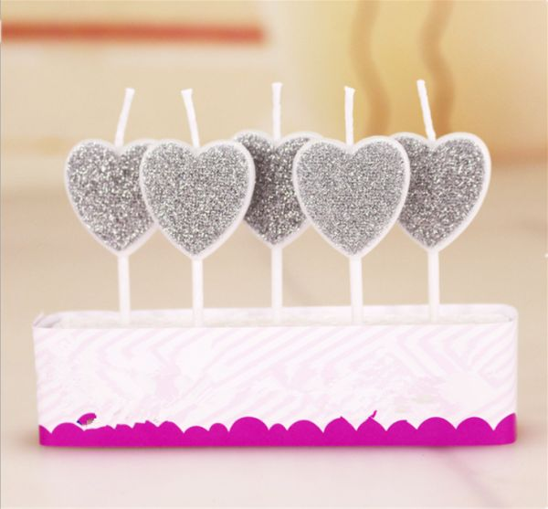 5PCS Love Heart Design Happy Birthday Candle Kid Adult Cake