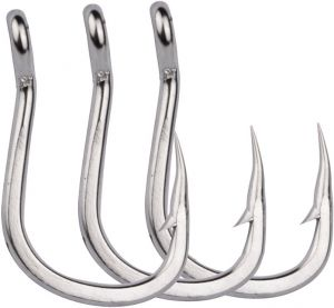 Useful size 9 Stainless steel has barbed sea fishing hook 5pcs
