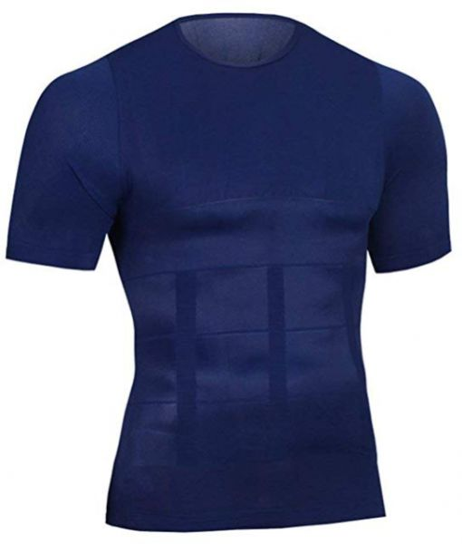 ce27a3b2 Men Slimming Body Shaper Long Sleeves Top Undershirt Abs Abdomen Slim  Compression Shirt Muscle Shapewear Corset for Fitness,Tummy  control,Blue,Size L | Souq ...