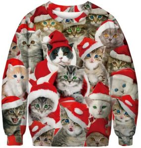 af7915d2c432 Unisex Men Women CHRISTMAS SWEATER Cat Printed Vacation Santa Elf Funny  Christmas Hoodie Sweaters Jumper Autumn Winter Tops Clothing