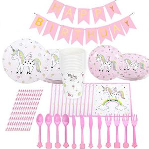 47abf3495d433 ... Set (97 Pack) Girl Birthday Decorations Disposable Tableware for Kids  Table Cover Napkins Plates Cups Banner Invitation Cards Party Favor (Pink  Unicorn)