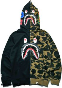 Shark mouth pattern stitching cardigan long-sleeved sweatershirt coat for  Men 21a5ccfcb