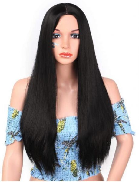 Long Straight Wig for Women Synthetic Middle Part Wig for Black Women  Natural Black Wig for Daily Use Heat Resistant Fiber-black  f1fee781a6