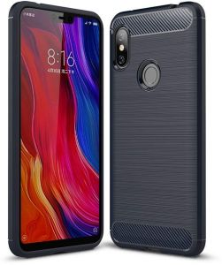 Redmi Note 6 case, Ultra Light Carbon Fiber Armor Shockproof Brushed Silicone Grip Case for Xiaomi Redmi Note 6/Note 6 Pro -Navy