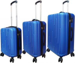 b1adb45d1b4e HighFlyer Hills 3 Pc Hard Trolley Smart Luggage With Weighing Scale Luggage  Bag Set - Blue