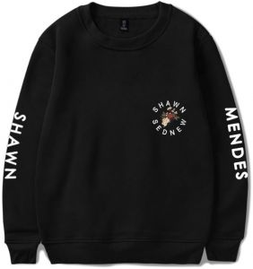 508906f9e Shawn Mendes sweatshirt round collar oversize cotton hoodie printing casual  top Black