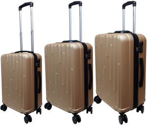 ed07326a7016 HighFlyer Hills 3 Pc Hard Trolley Smart Luggage With Weighing Scale Luggage  Bag Set - Gold