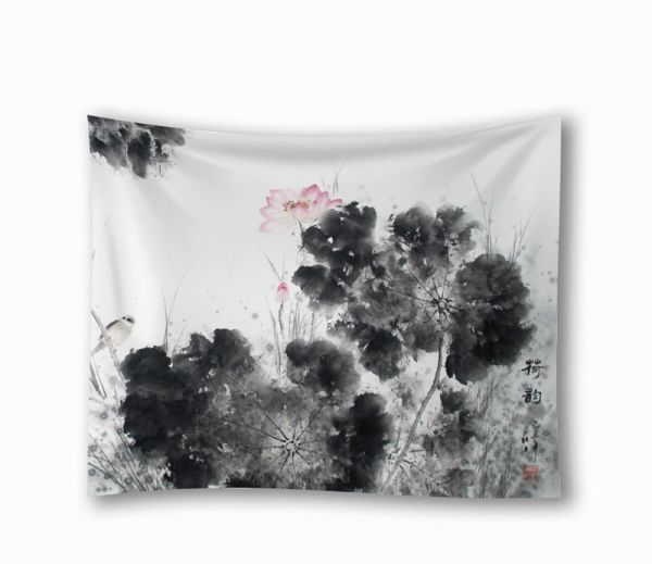 Home Decor Tapestry Lotus Flower Ink Painted Pattern Wall Art