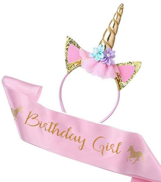 Unicorn Birthday Girl Set Of Gold Glitter Headband Pink Satin Sash For Girls Happy Party Supplies Favors Decorations