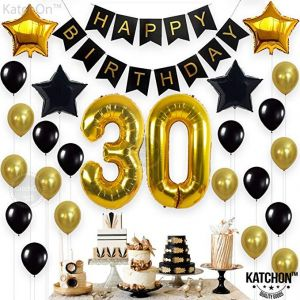 Party Decorations Kit Happy Birthday Banner 30th BalloonsGold And Black Celebrating Adult Background Decoration