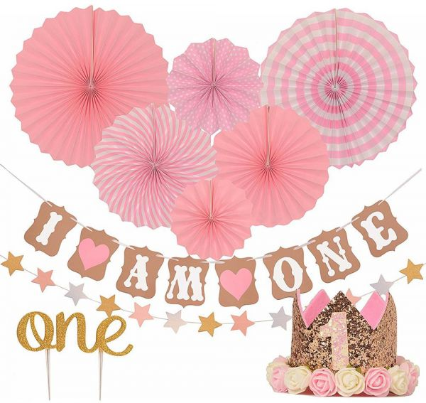 Birthday Party Decorations FIRST BIRTHDAY DECORATION SET FOR GIRL 1st Baby Stars Paper Garland Gold Cake TopperOne Pink Banner