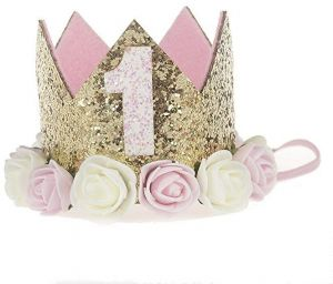 Child Photo Crown Props 1 Year Old Rose Baby Princess Tiara Girls Kids First Birthday Hat Sparkle Gold Flower Style With Artificial