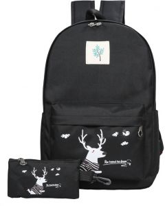 Women Canvas Daughter Backpack Girls Deer Printed Large Capacity Leisure  School Trip Backbags Travel Rucksack With Cluthes Pouch Christmas Gift Bag adeace04c7836