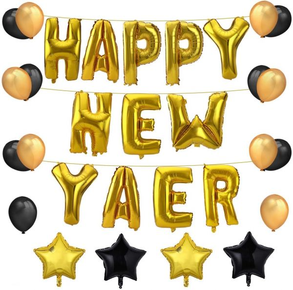 Happy New Year Balloons Kit Gold Foil Happy New Year Balloons