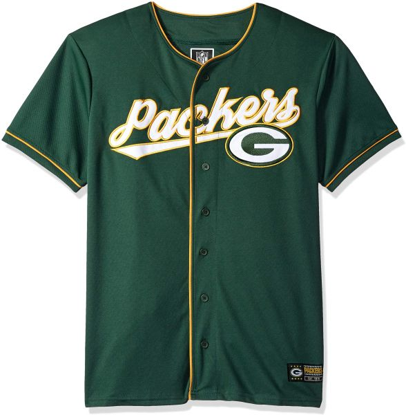Icer Brands NFL Green Bay Packers Men s Baseball Jersey T-Shirt Button Up Mesh  Shirt 26ec313ad