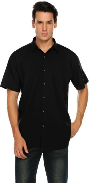 127263999 Mens Dress Shirts Short Sleeve Button Down For Casual Big and Tall - Black  - XXL(By Jeopace). by Jeopace