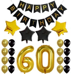 60th Birthday Decorations Gifts For Men Women Create Unique Events With Gold Foil Fringe Curtains Happy Banner