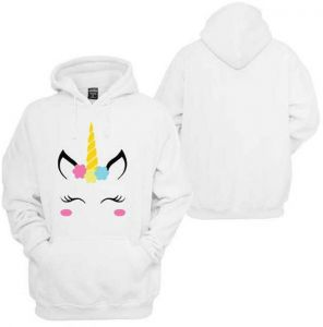 Women White Long Sleeves Unicorn Blouse Hoodies Pullover Casual Sweatshirt  Tops Pattern Print Hooded Long-Sleeved Sweatershirt c6f155baef