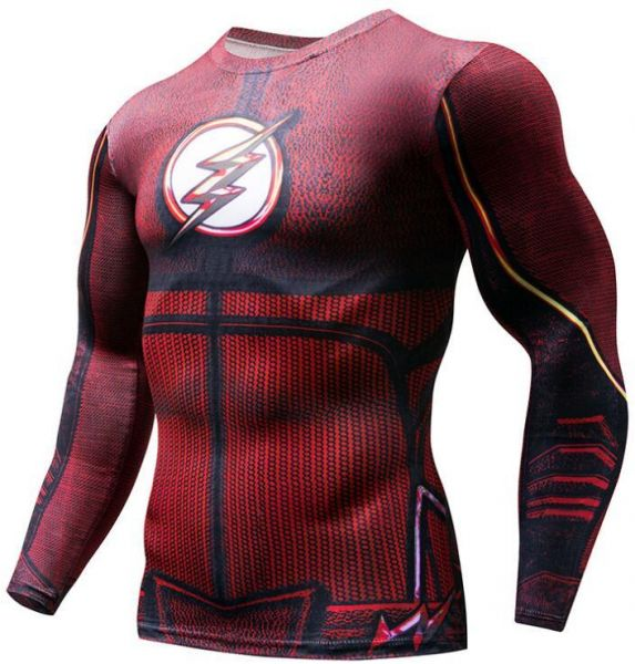 aa214cb22f51 Cycling Fitness Base Layer Compression Shirt Men Anime Bodybuilding Long  Sleeve Crossfit 3D Super hero The flash printed tops cycling top Bicycle  Clothing