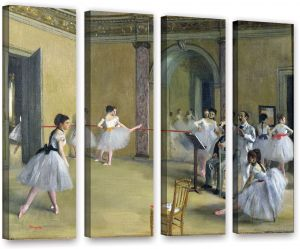 ArtWall Edgar Degass The Dance Foyer at The Opera on The Rue Le Peletier 3 Piece Floater Framed Canvas Set 36 x 54