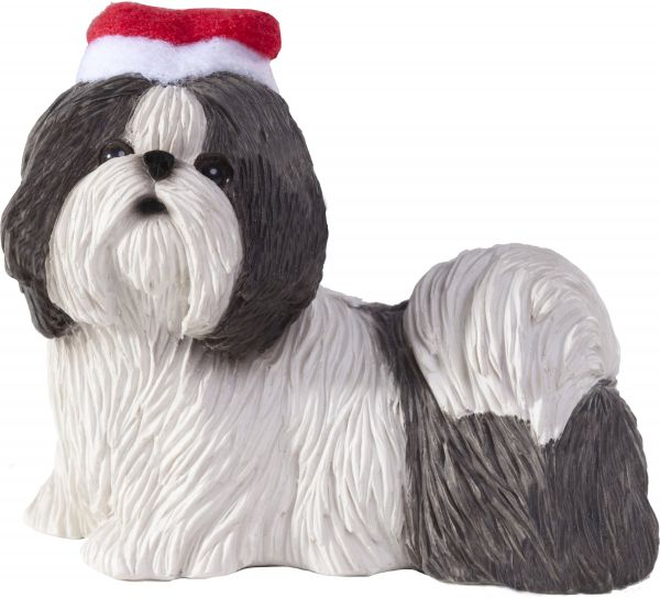Sandicast Silver and White Shih Tzu with Santa Hat Christmas Ornament  8fc5a4815