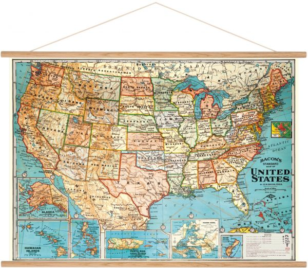 Cavallini Vintage USA Map Hanging Poster Kit | Souq - UAE
