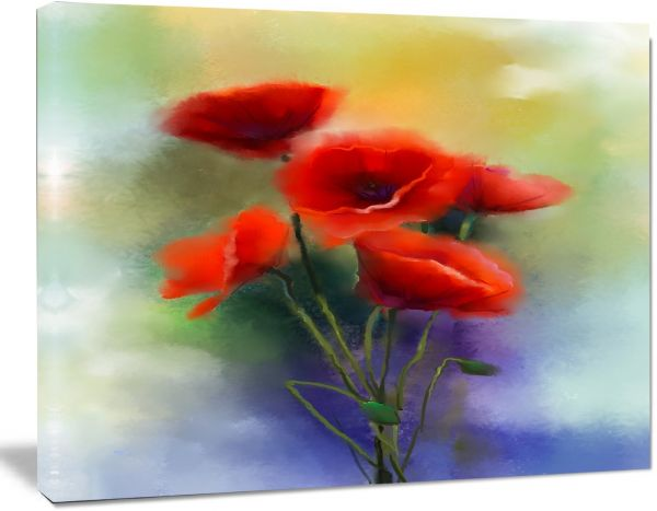 Designart Pt15042 20 12 Watercolor Red Poppy Flowers Painting Wall