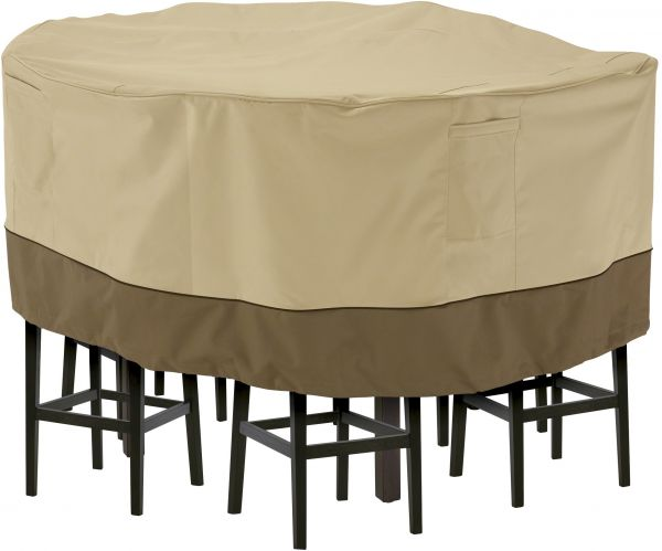 Classic Accessories Veranda Tall Round Patio Table Chairs Cover