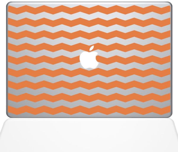 "The Decal Guru Chevron Pattern Decal Vinyl Sticker, 13"" MacBook Pro ‫(2015 & Older Models), Orange ‫(1383-MAC-13P-P)"